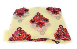 Large Motif on Cream Fabric, Georgette Material
