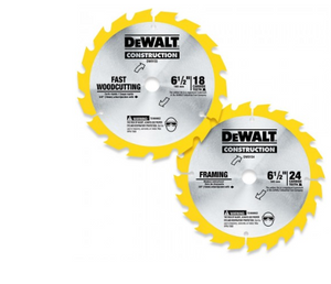 "DEWALT DW9158X 6-1/2"" x 18 Tooth and 24 Tooth Saw Blade Combo Pack"