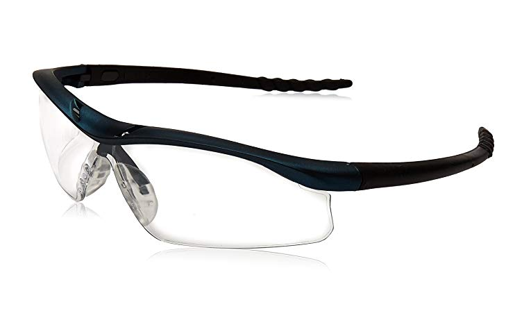 MCR Safety DL310AF Dallas Safety Glasses with Blue Metallic Frame and Clear Anti-Fog Lens
