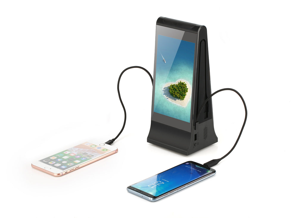 PowerSign FYD-868SD WiFi Table Advertising Player Dual LCD / Restaurant Menu / Charging Station FYD868SD