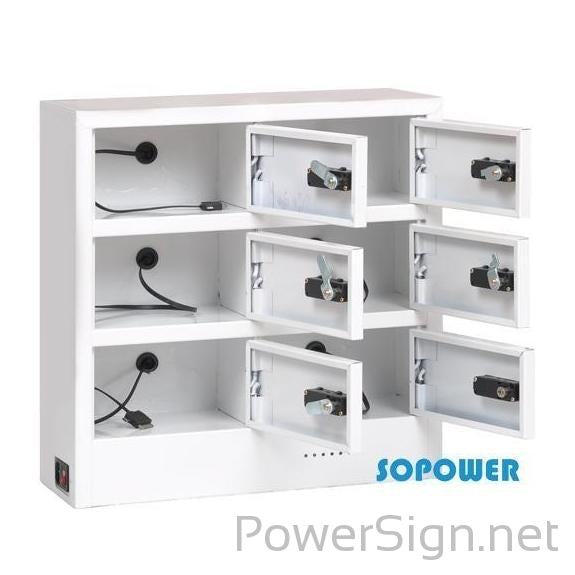 PowerSign Secure Cell Phone Charging Locker w/ 6 Digital Combination Locking Bays & Universal Charging