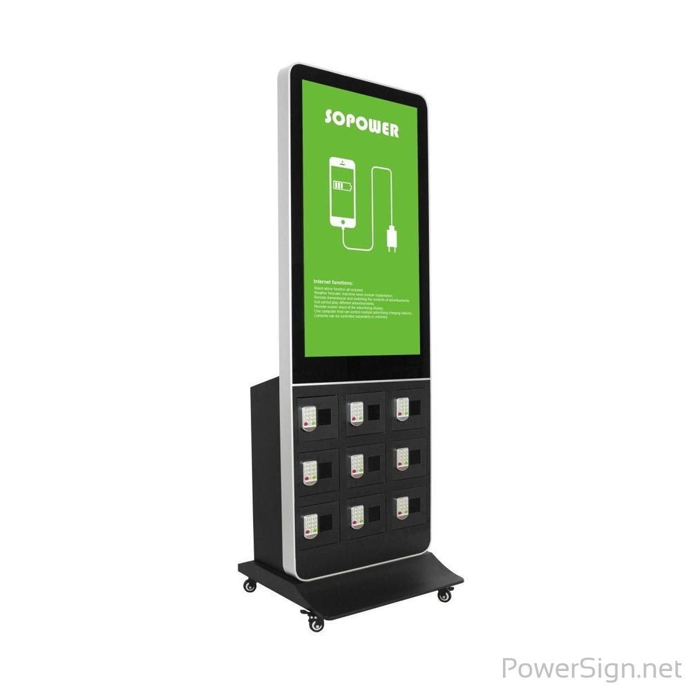 "PowerSign Phone charging kiosk with 42"" LCD advertising (non touch screen) 9 locker"