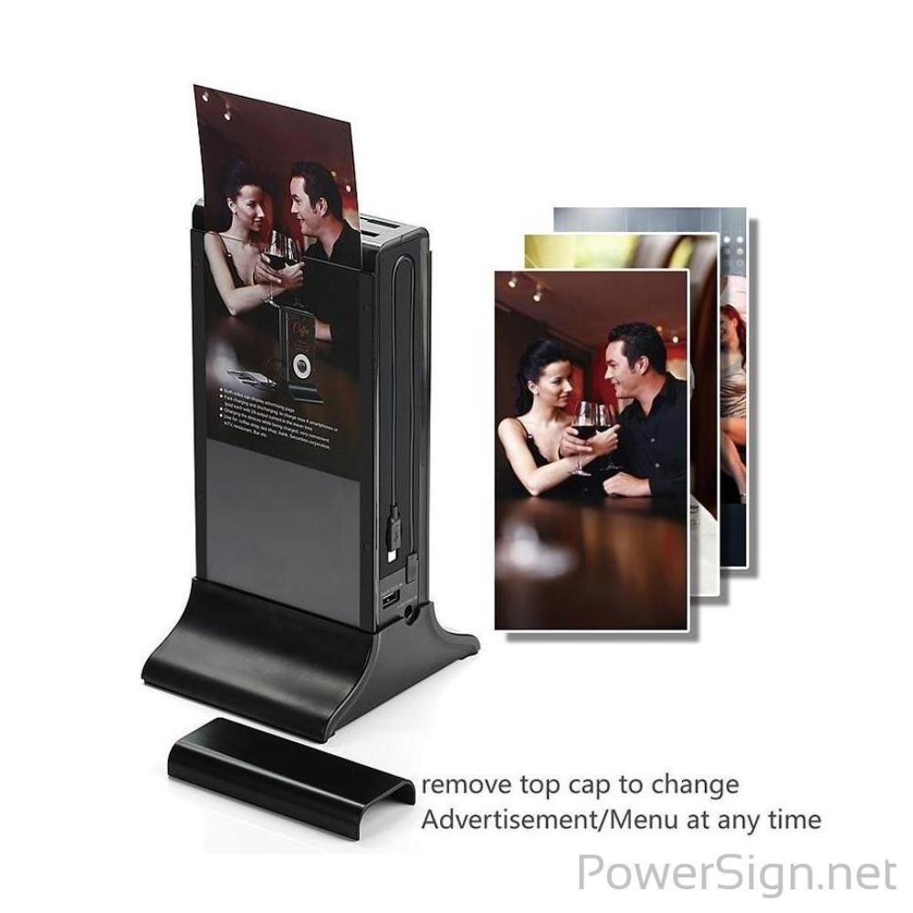 PowerSign FYD-835A Restaurant Menu Power Bank / Charging Station / Menu Holder