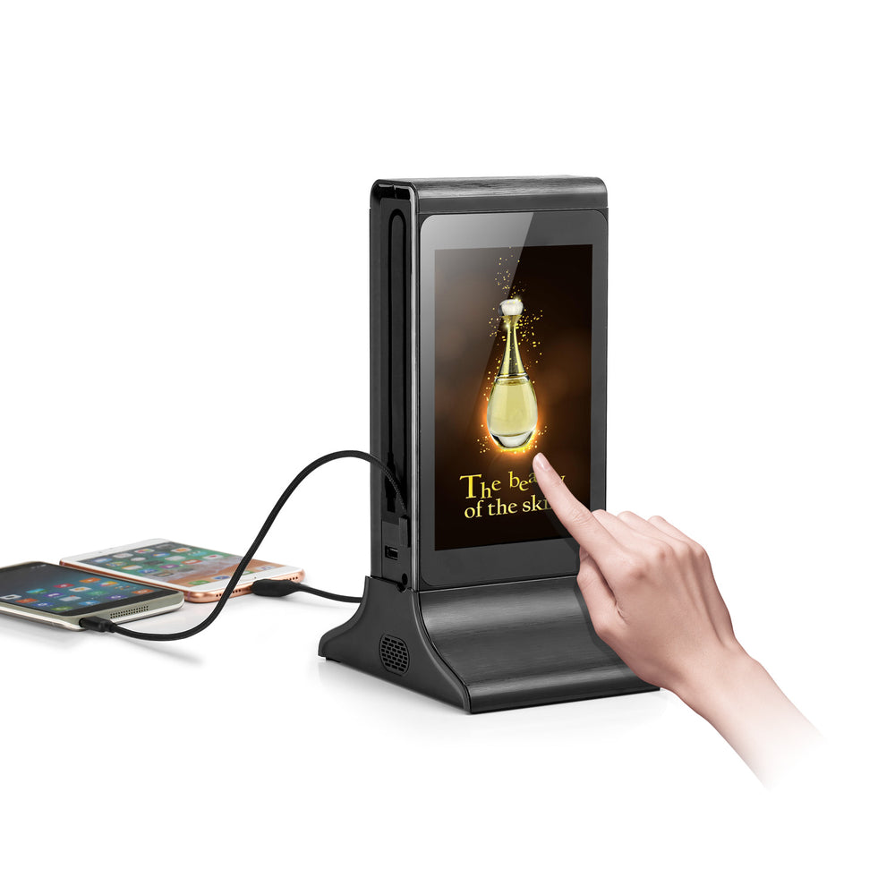 PowerSign FYD-835SD WiFi Table Advertising Player Dual LCD / Restaurant Menu / Charging Station FYD835SD