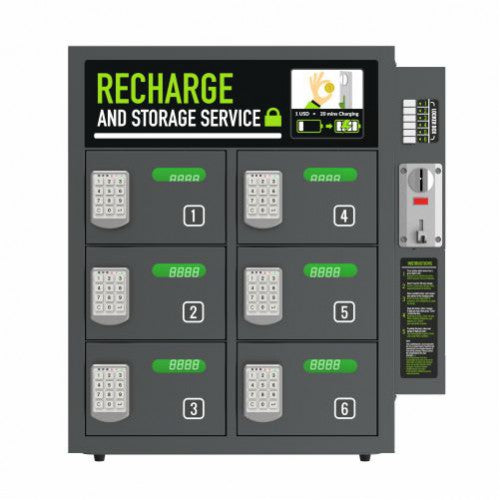 PowerSign Phone charger locker Paid Operation 6-door pin code lock ARCAS charging locker station