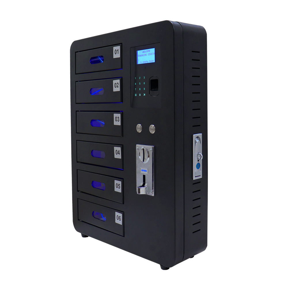 PowerSign Phone charger locker Coin Operated 6-door Fingerprint and pin code lock CARGALOCKER charging locker station (Ships from China)