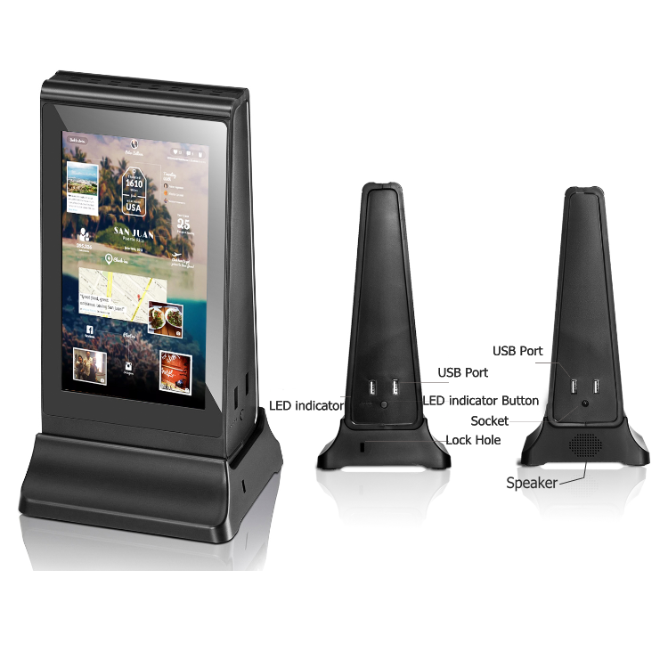 PowerSign ADX-5 WiFi Table Advertising Player DUAL LCD / Restaurant Menu / Charging Station ADX5