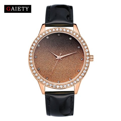Gaiety Leather Gold Quartz Wristwatch Casual Business Stainless Steel Luxury Watches Women Sport Watch Strap Fine Watch Gift