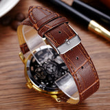 2017 New Brand Luxury Fashion Casual Leather Men Skeleton Watch Women Dress Wristwatch Steel Quartz Hollow Watches Men PINBO-85