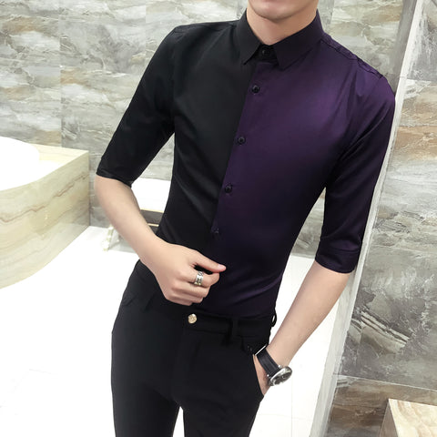 Patckwork Summer Shirt For Men Purple Black Stylish Shirts For Men Wedding Party Club Slim Fit Camisa Social Masculina
