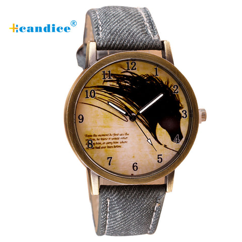 Newly Design Vintage Brief Painting Horse Watch Quartz Wrist Watches