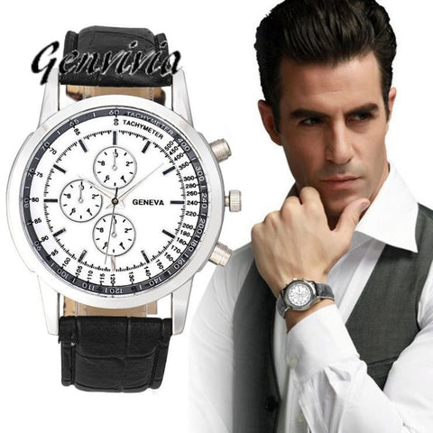 Genvivia 2017 Luxury Men's Fashion Business Watches Design Dial Leather Band sapatos masculino Analog Quartz Wrist Watch