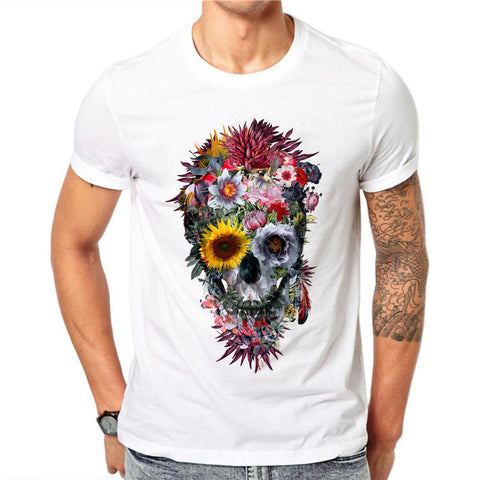 100% Cotton Men Fashion Voodoo Skull Design Short Sleeve Casual Exquisite Flower Skull Printed Tee