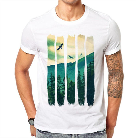 100% Cotton Summer Vintage Pines Eagles Mountain Design Men T Shirts Fashion Man Short Sleeve Tops Tees Clothes