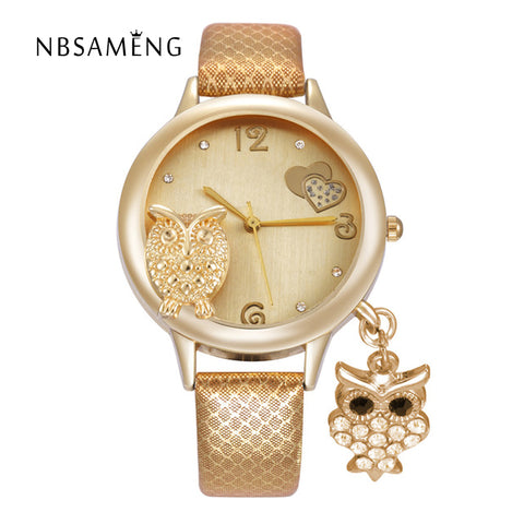 2017 Fashion Owl Pendant Quartz Watch Women Watches Gold Ladies Crystal Charm Clock Relogio Feminino Montre Femme LZ2229