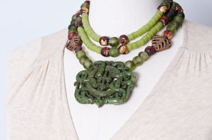 Jade trade beads silver toggle necklace. Cristina Tamames Jewelry Designer