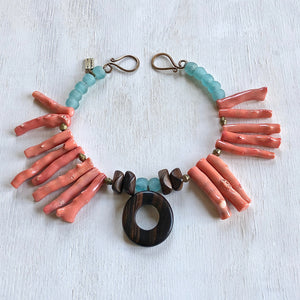 Greek coral recycled African beads ebony necklace. Cristina Tamames Jewelry Designer