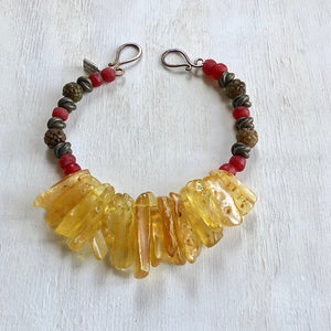 Amber jade African trade beads necklace. Cristina Tamames Jewelry Designer