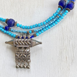 Blue trade beads silver necklace. Cristina Tamames Jewelry Designer