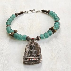 Nepalese Buddha African recycled beads necklace. Cristina Tamames Jewelry Designer