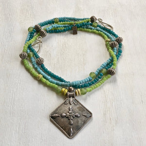 Trade blue green teal beads necklace. Cristina Tamames Jewelry Designer
