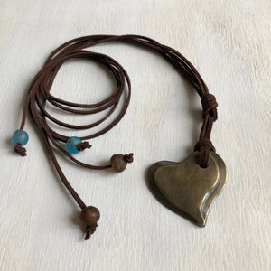 In your hands Bronze heart pendant