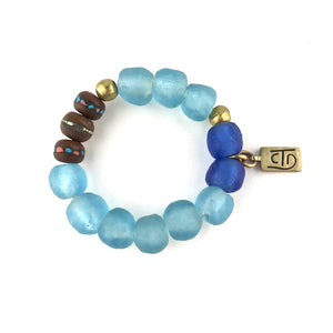 For the heart bracelet blues and browns