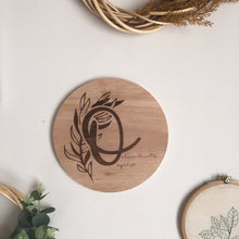 Olive branch initial plaque