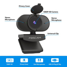 Load image into Gallery viewer, Foscam W25 Webcam with Dual Microphones, Foscam 1080P HD Streaming USB Web Camera with Privacy Cover for PC Video Call - Foscam