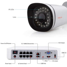 Foscam 8CH PoE 1080P  Pre-Installed 2TB HDD,  NVR 2MP 1080P Indoor/Outdoor Bullet IP Camera,