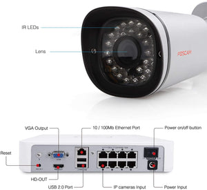 Foscam 8 Channels xPoE 720P Security CCTV Surveillance System NVR KIT - Foscam
