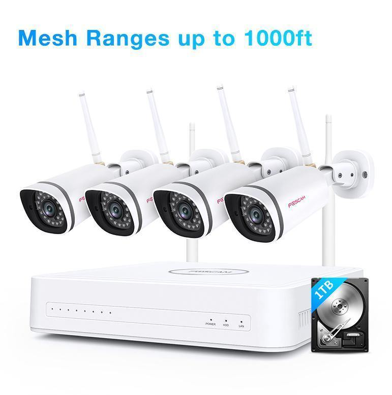 Refurbished - Foscam 1080P Mesh WiFi Security Camera System Ranges up to 1000ft+1TB Hard Drive With 4 WIFI Security Cameras - Foscam