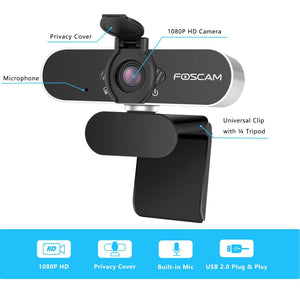 Christmas gift - Foscam USB 2.0 1080P Full HD Webcam Camera for Computer PC Laptop Video Microphone - Foscam