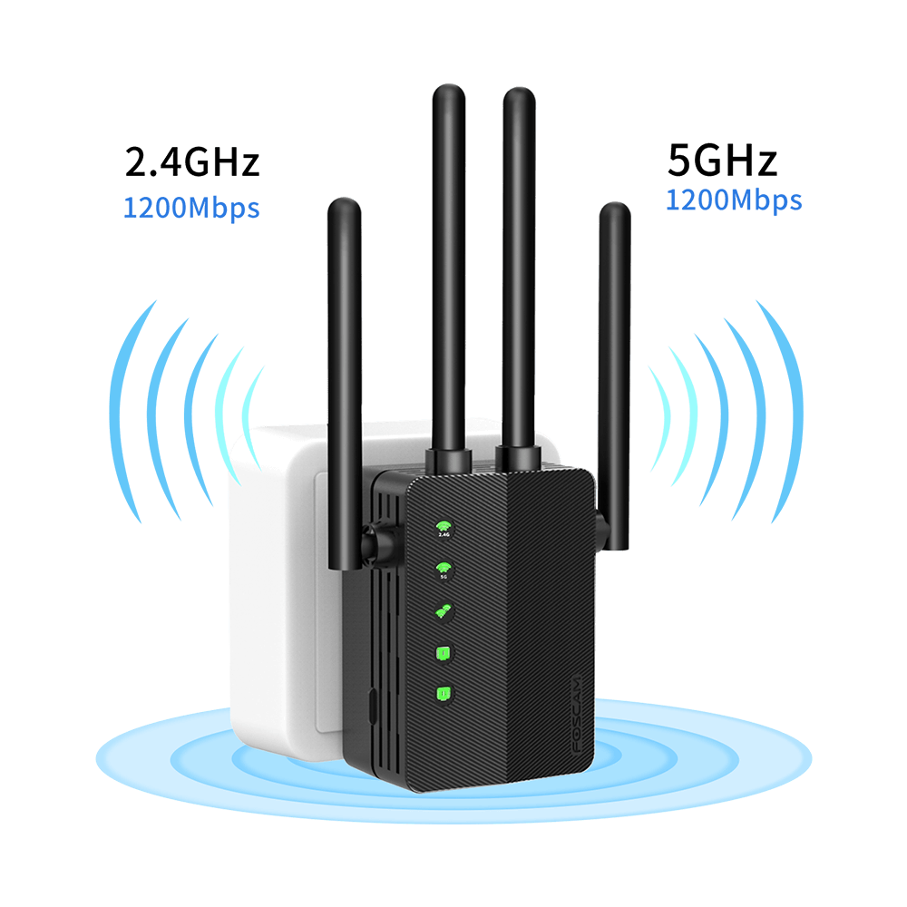 Foscam WiFi Range Extender Wireless WiFi Signal Booster Covers Up to 1200 Sq.ft