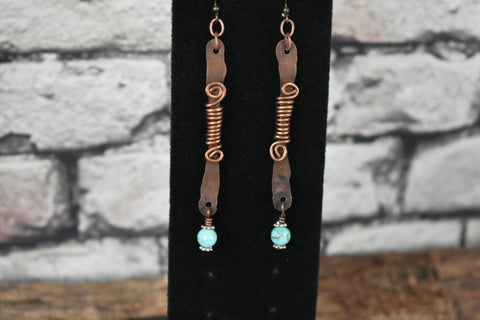 Copper wire rustic earrings - Bujog