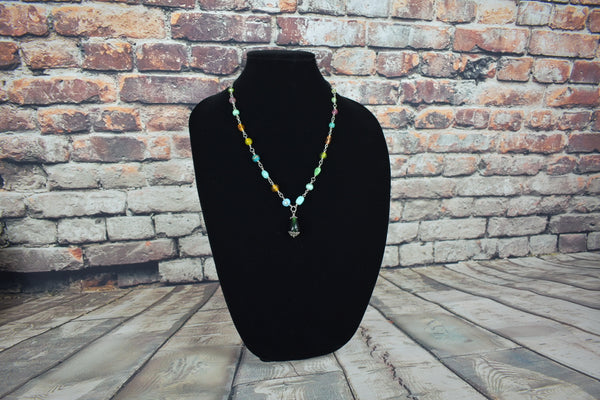Silver chain necklace with Czech glass beads - Bujog