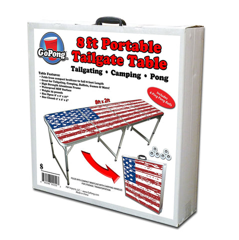 American Flag Portable Beer Pong Table