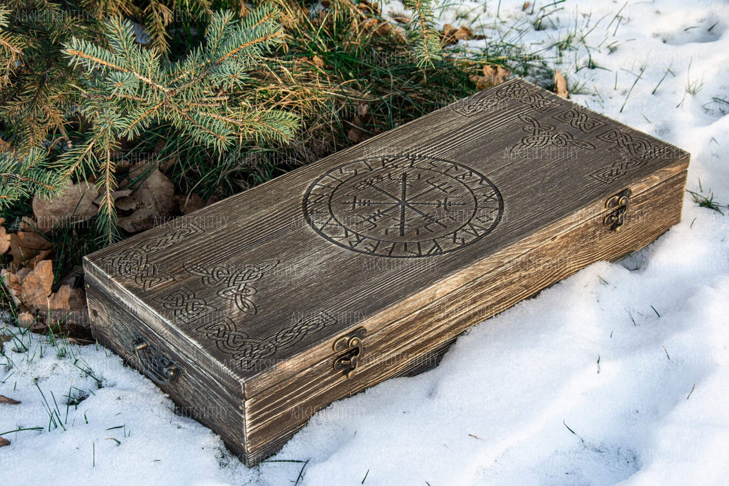 ancientsmithy add-ons Scandinavian wooden box with carved runes for hammers