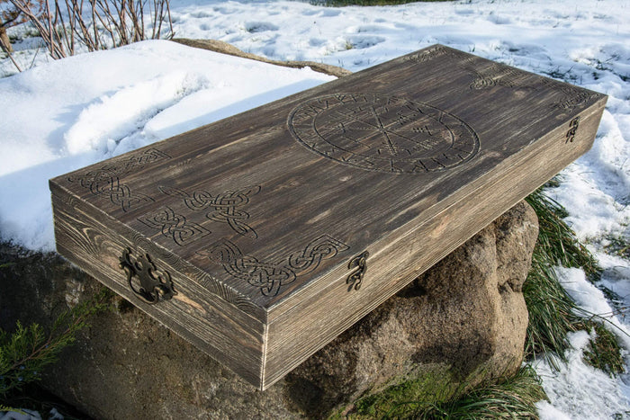 ancientsmithy add-ons Scandinavian wooden runic box for Kratos axe with carved runes