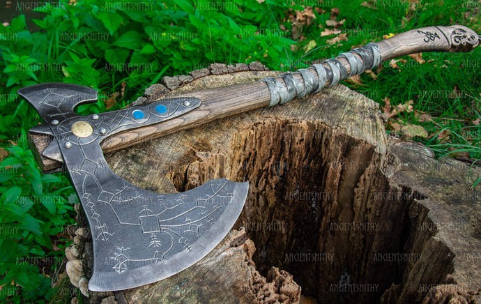 ancientsmithy axe Axe of Kratos God of War with carved runes