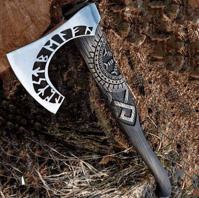 """ancientsmithy axe Hand forged axe """"OTHALA"""" with leather cover and wooden box"""
