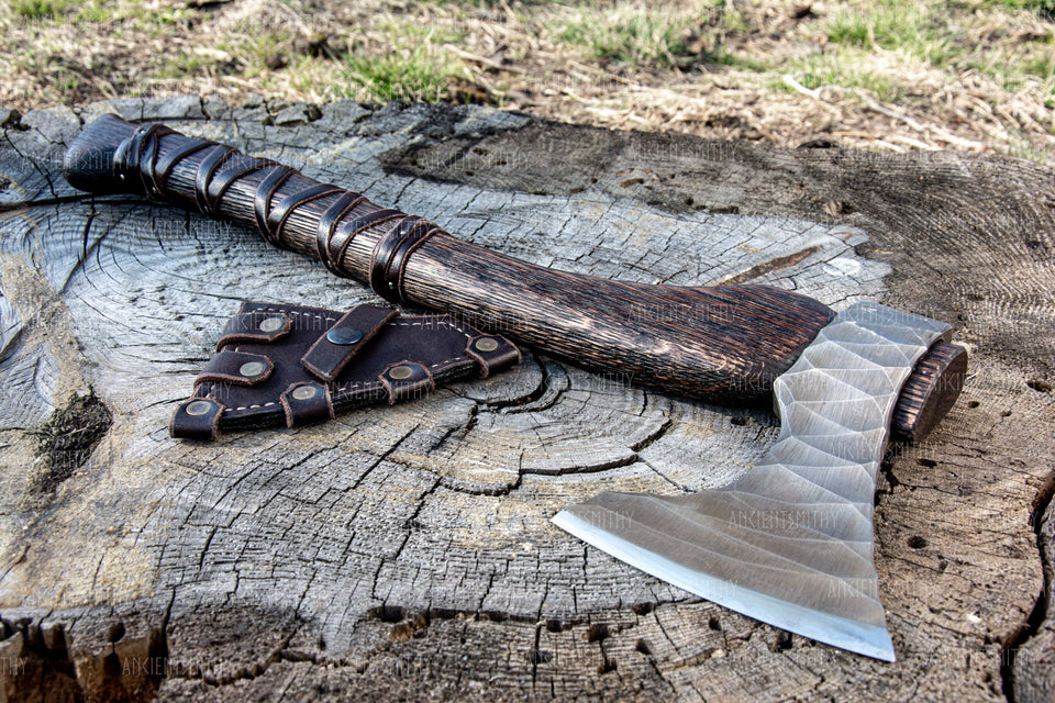 "ancientsmithy axe with my text / without box Hand Forged Axe ""Sterk Vorley"""