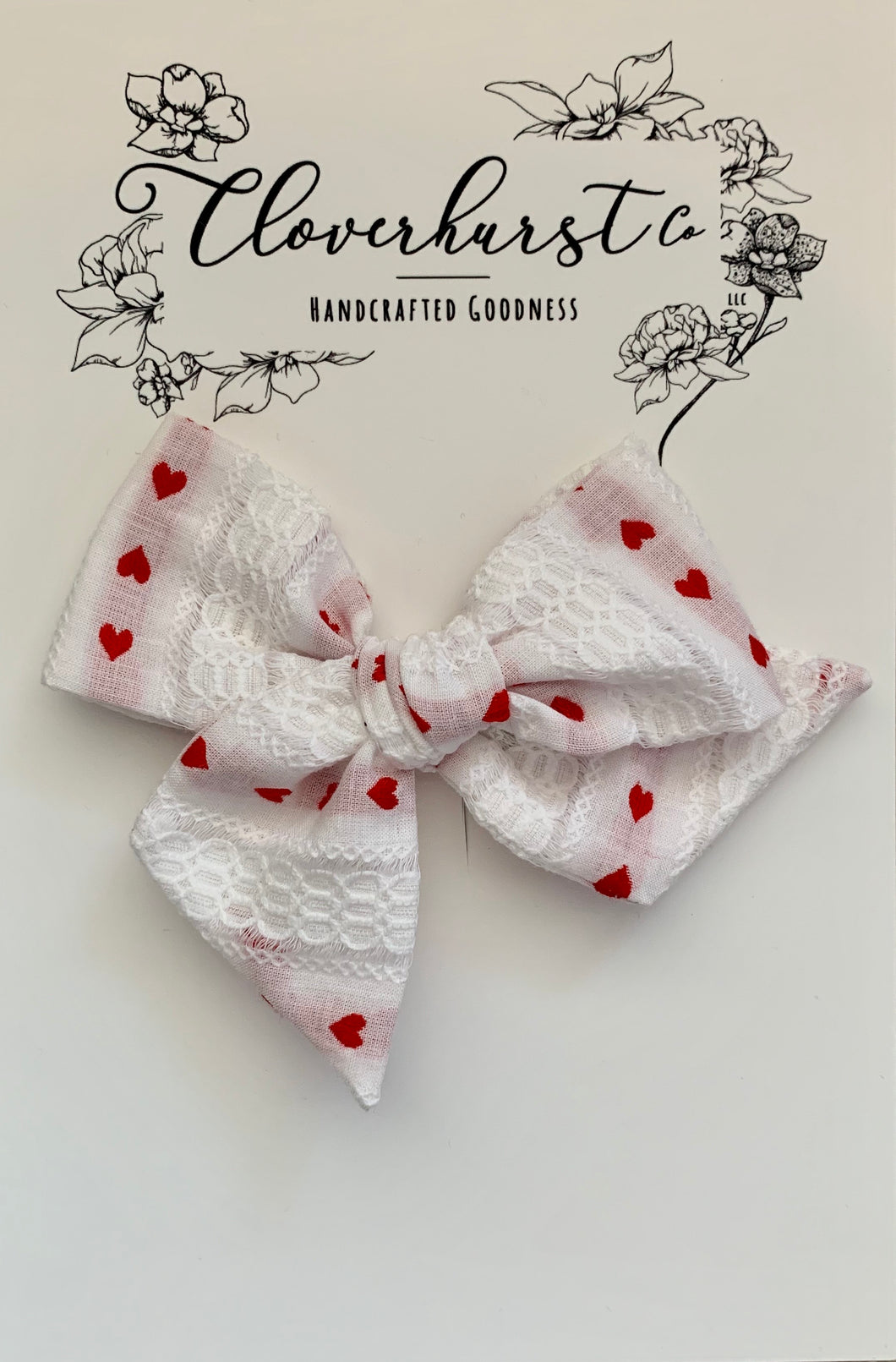 Vintage Red Woven Hearts - Large Pinwheel