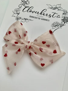 Vintage Red Flocked Hearts on Organza