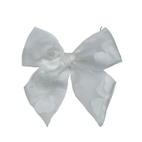 White Floral Sheer Organza