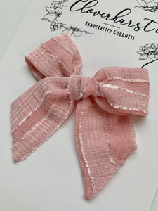 Pink Textured Chiffon Stripes