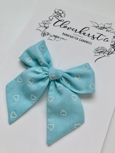 Vintage Blue Flocked Hearts - Magnolia