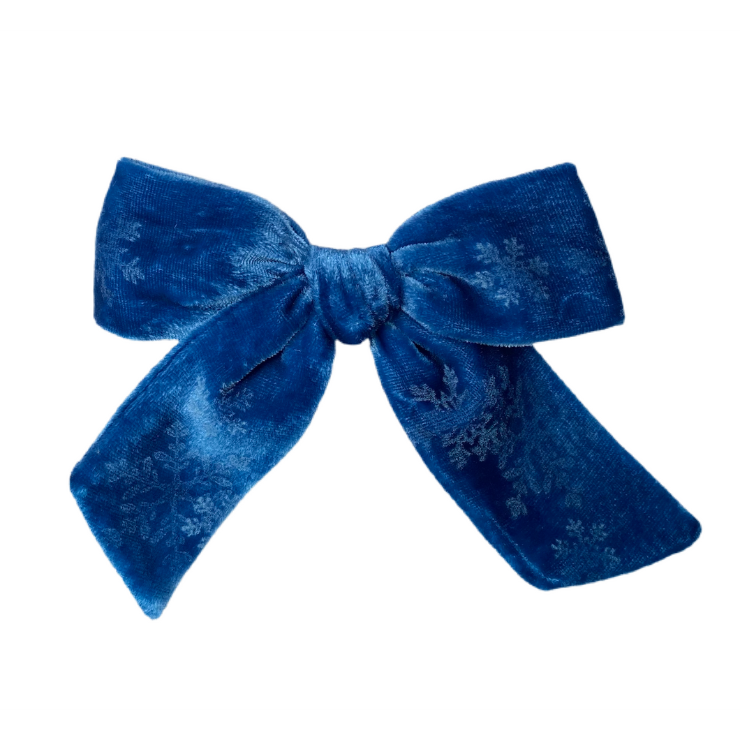 Snow Flurry Patterned Custom Dyed Blue Velvet