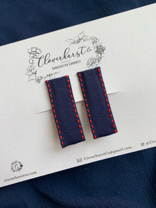 Clips - Navy with Red Stitching SET