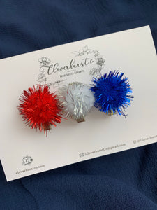 Clips - Metallic Pom Patriotic Trio